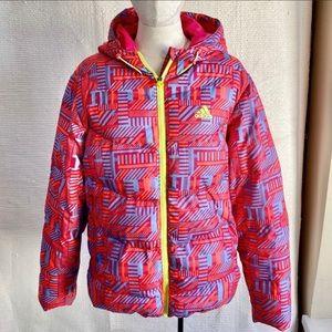 Adidas L Rare Retro 90s Print Down Puffer Jacket